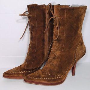 Nine West Deshanar Suede Lace Up Heel Boots Sz 6